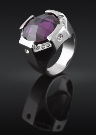 sapphire: ring with gem on black background Stock Photo