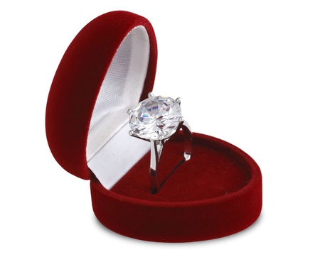 diamond ring in red velvet box isolated on white background Stock Photo