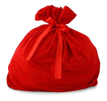 Santa gift bag Isolated on white background photo