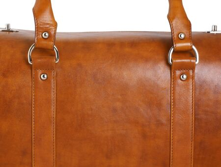 buckled: closeup of brown leather case