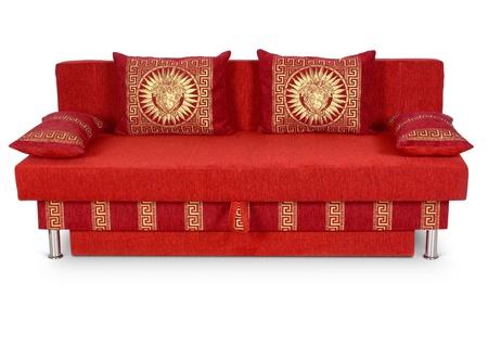 divan: sofá rojo sobre fondo blanco