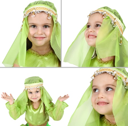 costume jewelry: portrait of little girl dressed arabian isolated on white, set