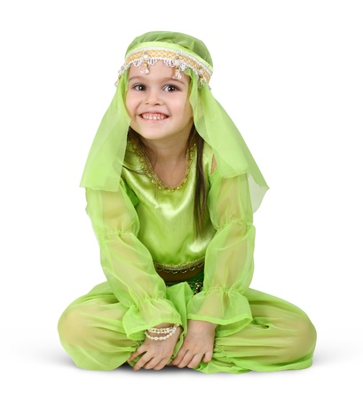 child girl dressed arabian isolated on white photo