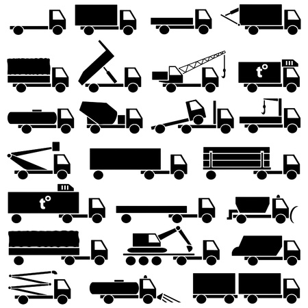 camion grua: Set de iconos de siluetas de transporte de carga Foto de archivo