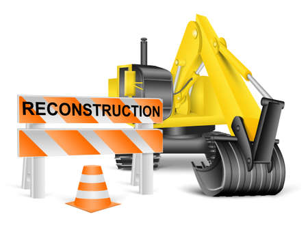 in the reconstruction: excavator and construction barrier, reconstruction concept on white Stock Photo