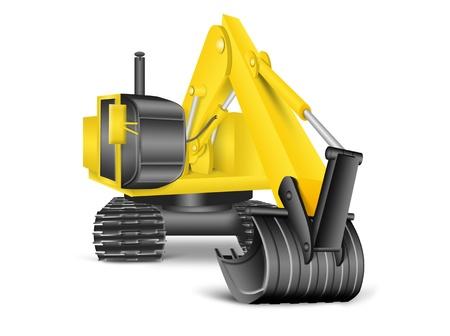 backhoe: illustration of excavator on white background Stock Photo