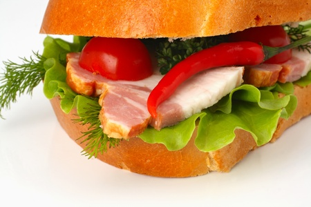 closeup of hot sandwich with chili pepper Stock Photo - 12882556