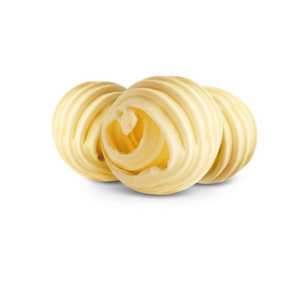 Butter curls isolated on white background Stock Photo