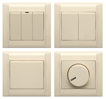 switch: collection of different light switch isolated on white Stock Photo