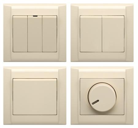 verzameling van verschillende lichtschakelaar op wit wordt geïsoleerd Stockfoto