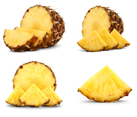 Set of pineapple with slices isolated on white background Banco de Imagens
