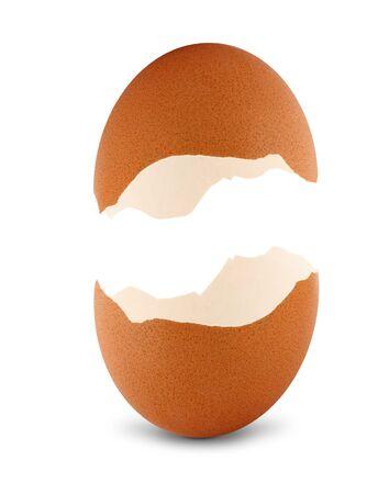 half open: Broken empty egg isolated on white background