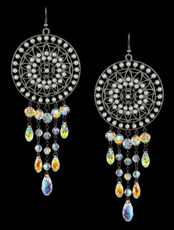 earrings with gems on black