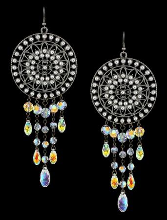 bead jewelry: earrings with gems on black