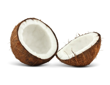 two halfs of coconut isolated on white background