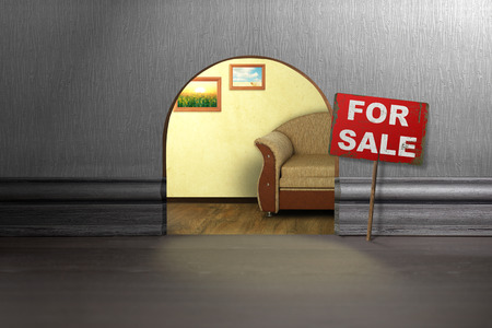 mouse hole: Mouse hole in wall with sign for sale. House sale concept