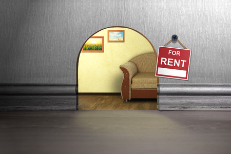 mouse hole: Mouse hole in wall with sign for rent. House rent concept Stock Photo