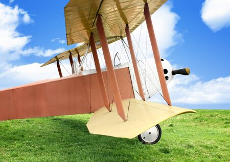 warbirds: Old vintage airplane on green grass Stock Photo