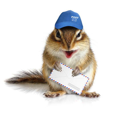 comical: comical chipmunk postman hold mail envelope Stock Photo