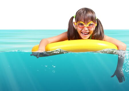 funny glasses: Funny little girl with diving glasses floating inflatable ring, resort concept on white Stock Photo