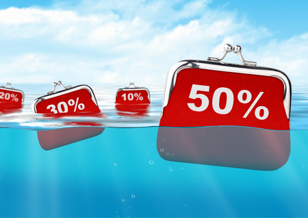 sell out: floating wallets with number at ocean, discount concept