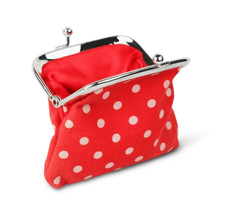 ladylike: Red open purse, wallet, isolated on white