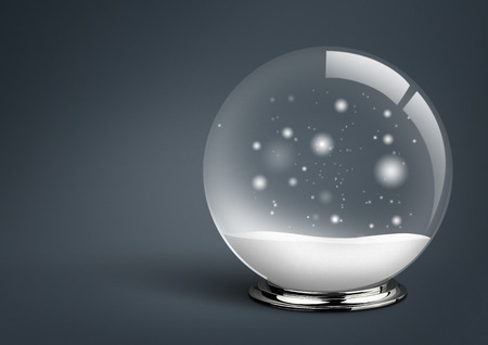 empty snow ball , on dark background with copy space