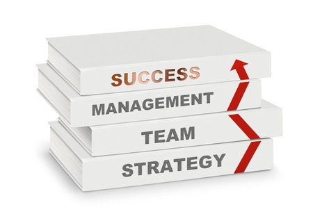 path to success: pile of books covered management, team, strategy, success and arrow, business concept on white with path