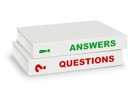 isolated sign: Two books covered word question and answer, on white with path, support concept Stock Photo