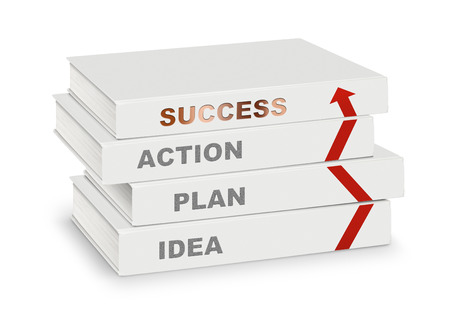 path to success: pile of books covered idea, plan,action, success and arrow, business concept on white with path Stock Photo