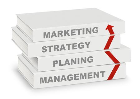 Pila di libri coperti di marketing, strategia, progettazione, gestione e freccia, business concetto isolato su bianco con il percorso Archivio Fotografico - 48316112