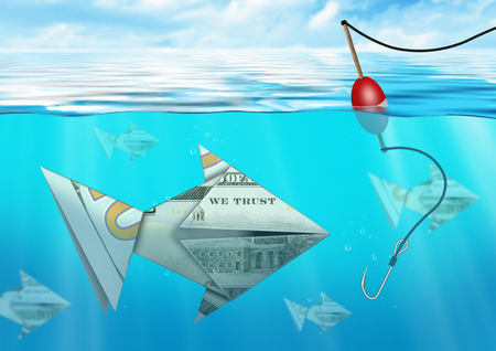 creative money: Creative business concept, catching fish from money under water