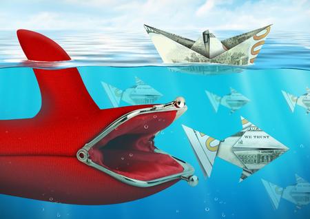 Creatief finance concept, beurs vangt geld onder water