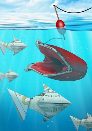 crisis economica: concepto de negocio creativa, la captura de peces con dinero del monedero