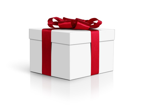 red gift box: Gift box, side view, with red ribbon and bow isolated on white, path Stock Photo