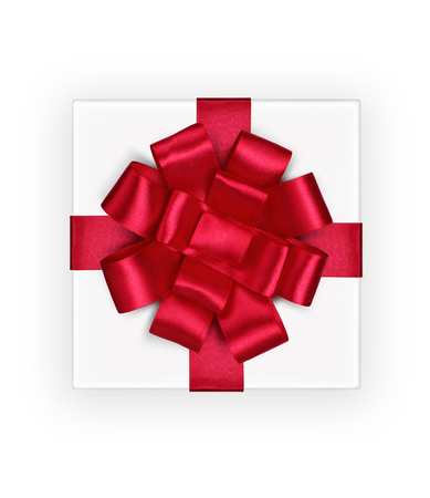 white ribbon: Gift box, top view, with red ribbon and bow isolated on white, path