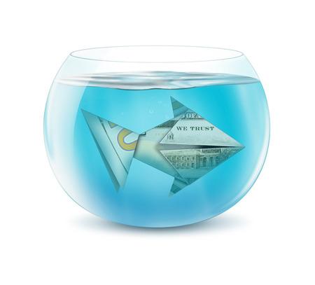 creative finance: creative finance concept, dollar fish in aquarium on white Stock Photo