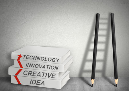 creative concept: books creative, idea, tecnology, innovation, Ladder from pencils, management concept