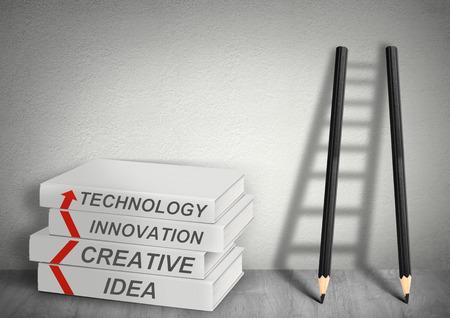 achievable: books creative, idea, tecnology, innovation, Ladder from pencils, management concept