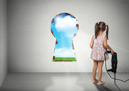 cognition: Child girl break wall, cognition creative concept