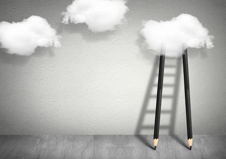 アイデア創造的なコンセプト、はしごを雲に鉛筆