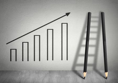 succes creatief concept, Ladder van potloden Stockfoto