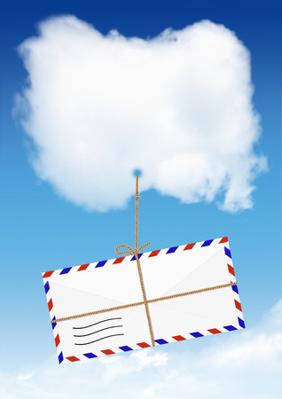 air mail: Air Mail concept, envelope fly on cloud Stock Photo