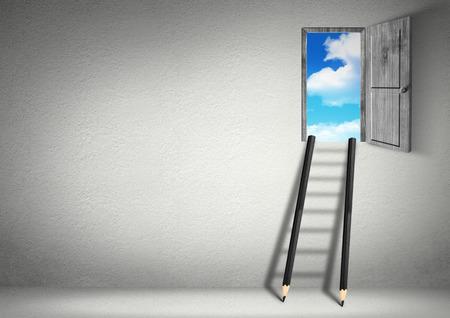 succes creatief concept, trap van potloden tot deur Stockfoto