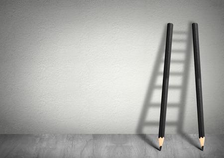 концепция: Успех творческой концепции, карандаш Лестница с копией пространства