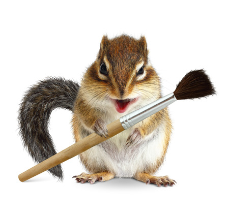Funny squirrel painter with brush, on white background Stock Photo