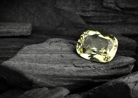 faceted gemstone on darck background