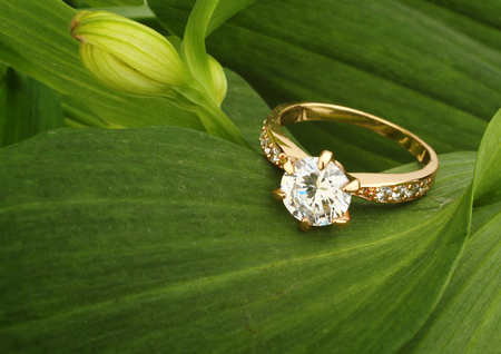 Jewellry ring with big diamond on green leafs background Standard-Bild