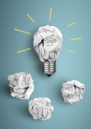 Idea concept, bulb with crumpled paper