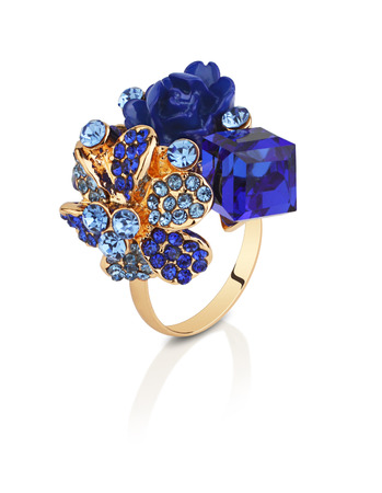 gems: Jewelry ring with blue gems flower isolated on white, clipping path